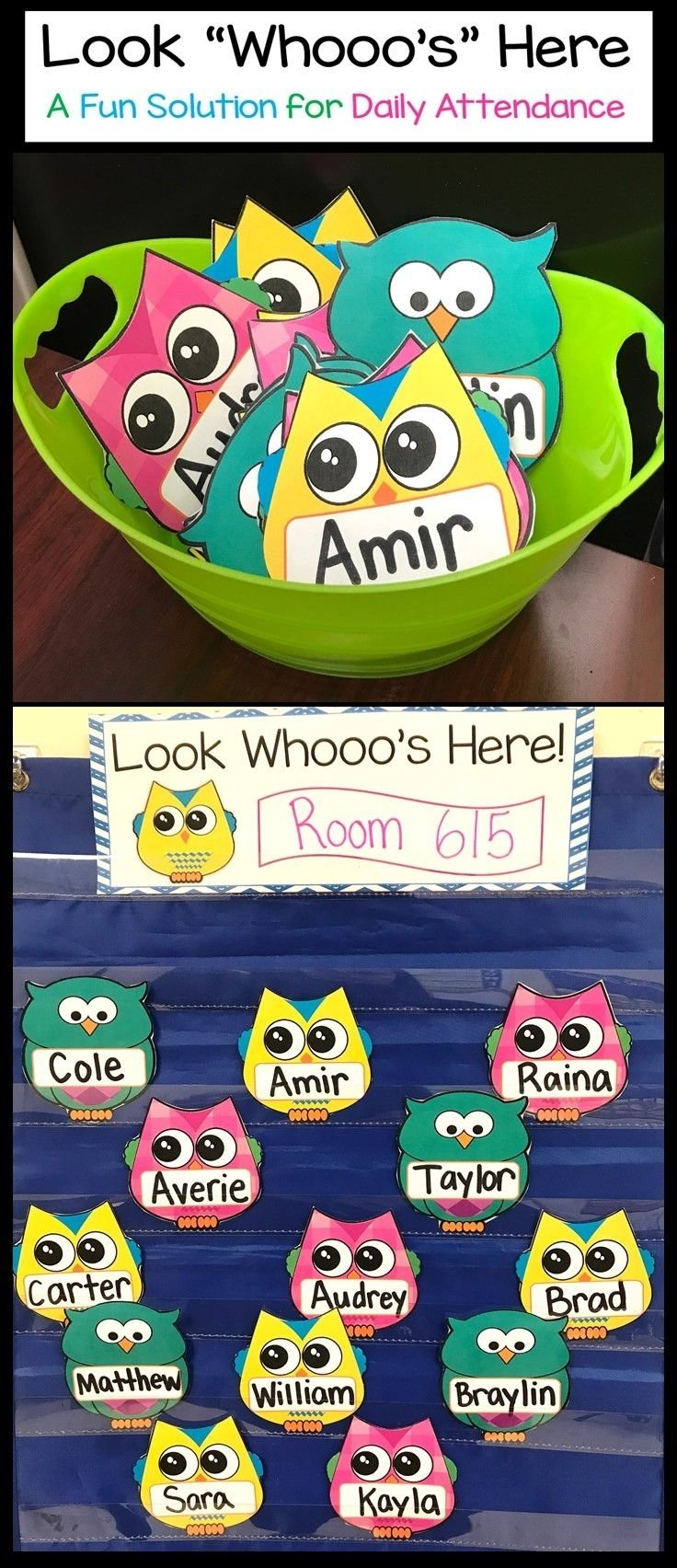 10 Trendy Back To School Ideas For Preschool owl attendance display look whos here name cards attendance 2021
