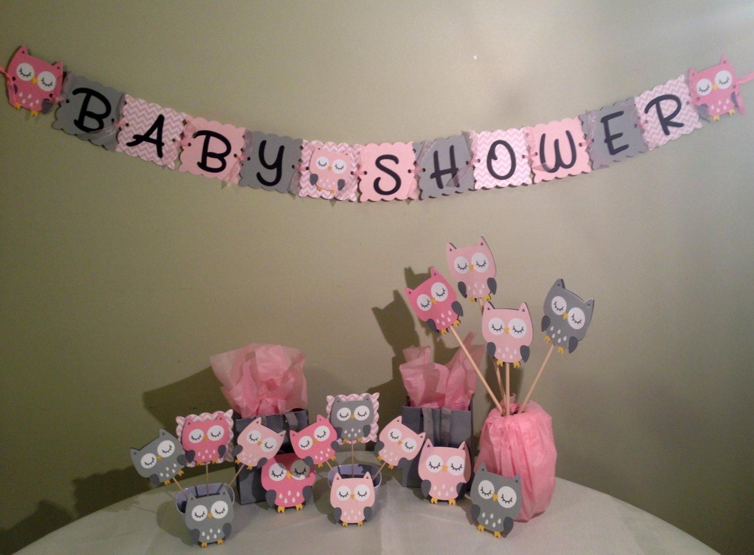 owl baby shower decorations package - owl baby shower - pink white
