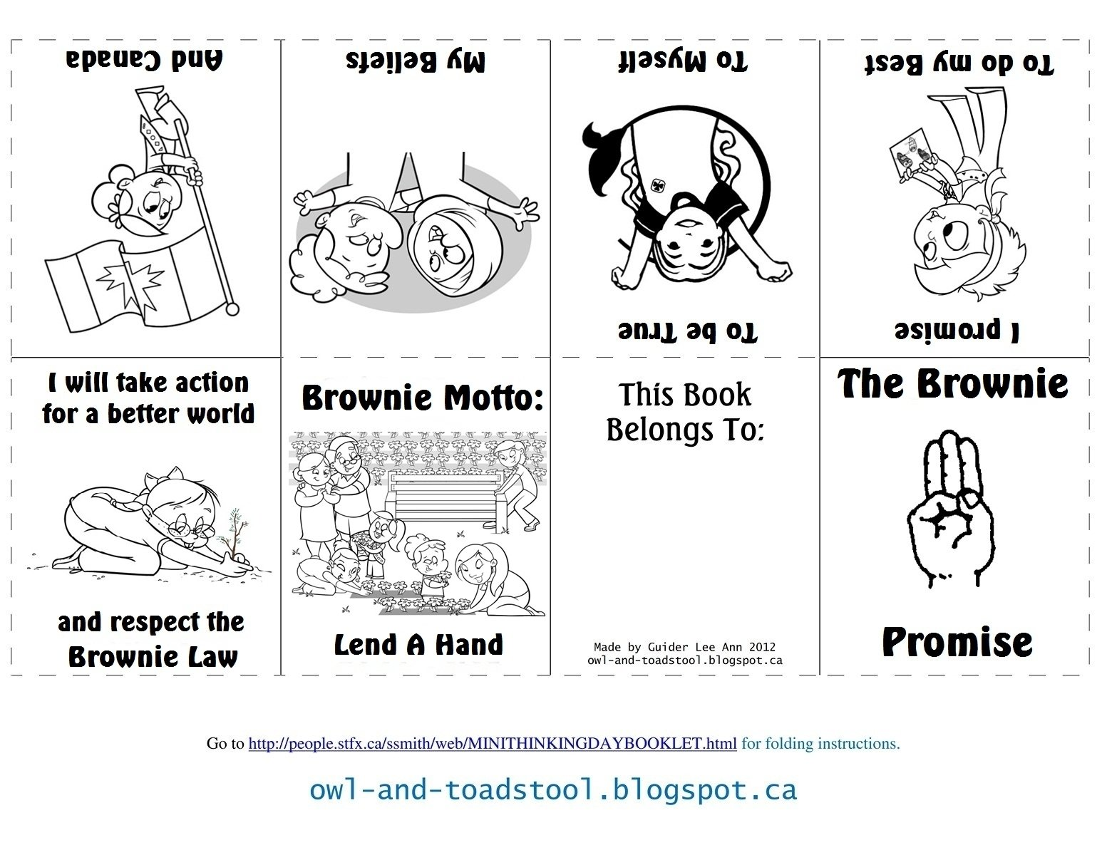 10 Awesome Brownie Girl Scout Meeting Ideas owl toadstool brownies promise law minibooks girl guides 1