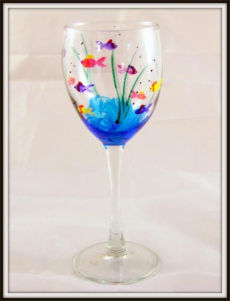 painted wine glasses ideas | hand painted fish wine glass | glass