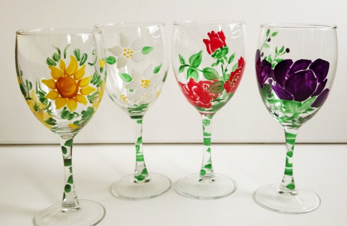 10 Cute Ideas For Painting Wine Glasses painted wine glasses ideas hand painted flower wine glasses set 2021