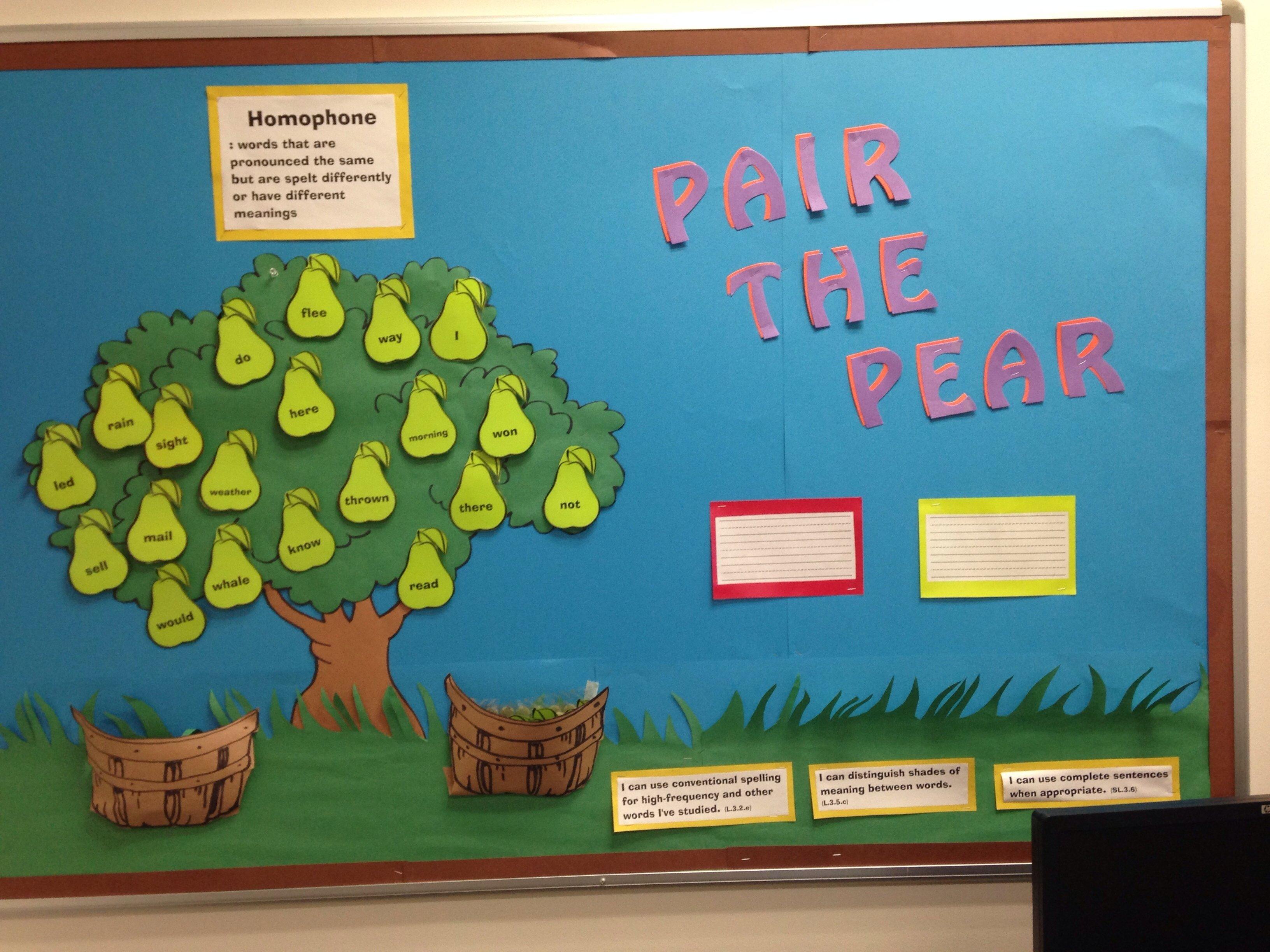 10 Fabulous Elementary School Bulletin Board Ideas pair the pear interactive bulletin board about homophones teacher 2020
