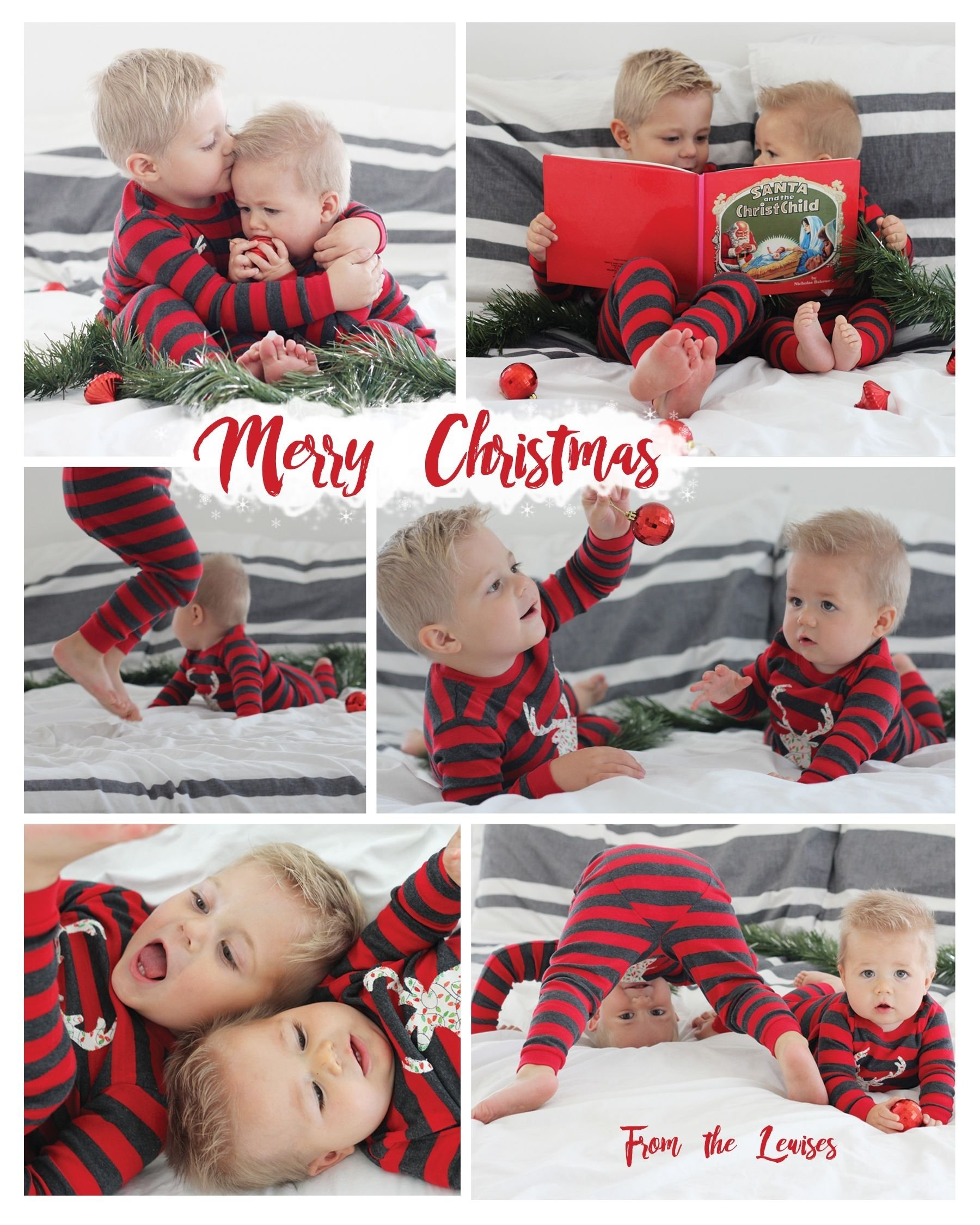 10 Fantastic Kids Christmas Card Photo Ideas pajama themed christmas card pyjamas photoshoot and photography 2020