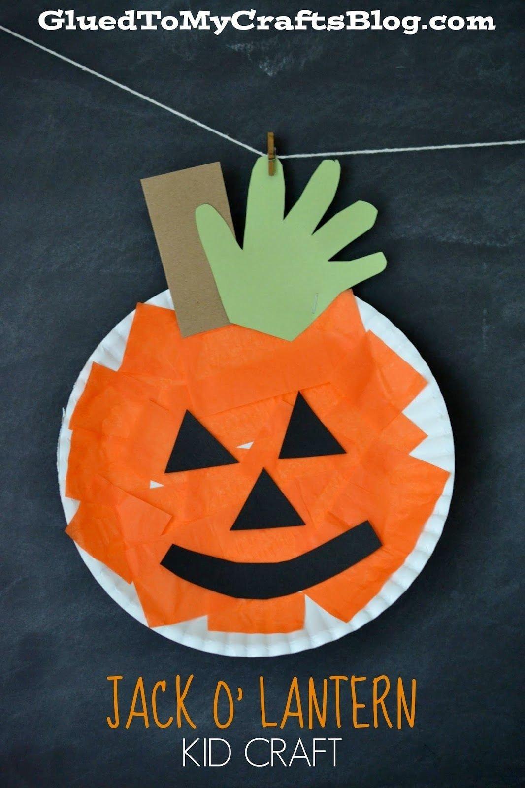 10 Elegant Halloween Craft Ideas For Preschoolers paper plate pumpkin kid craft craft activities and school 2021