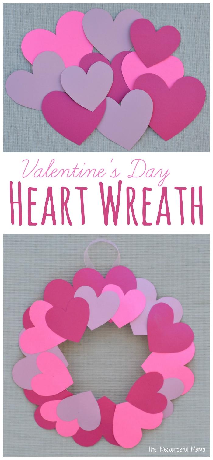 paper plate valentine's day heart wreath craft   wreaths crafts