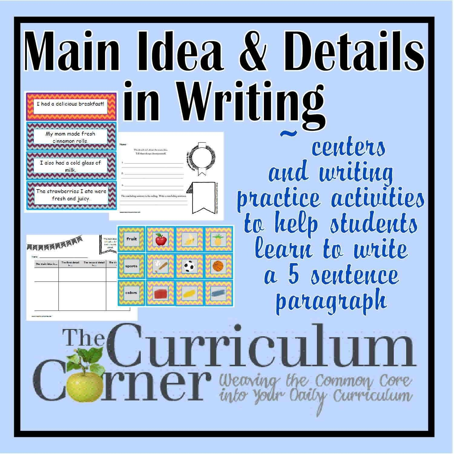 10 Lovable Main Idea And Details Activities paragraph writing main idea details focus the curriculum 2020