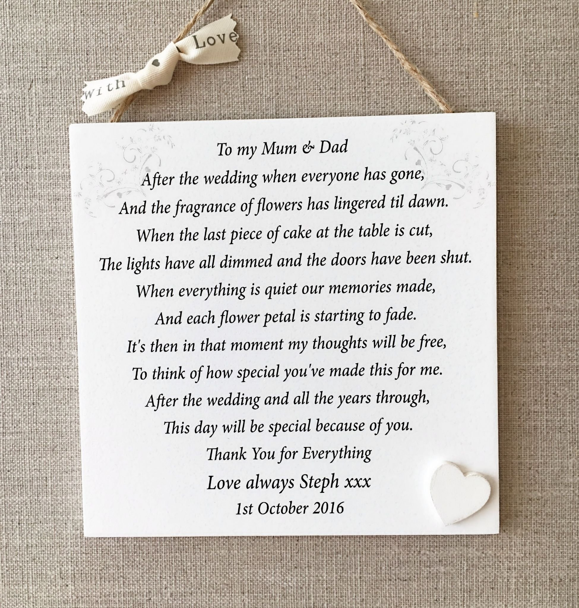 10 Stylish Gift Ideas For Parents Of The Bride And Groom parents thank you wedding gift personalised mum dad plaque bride 2020