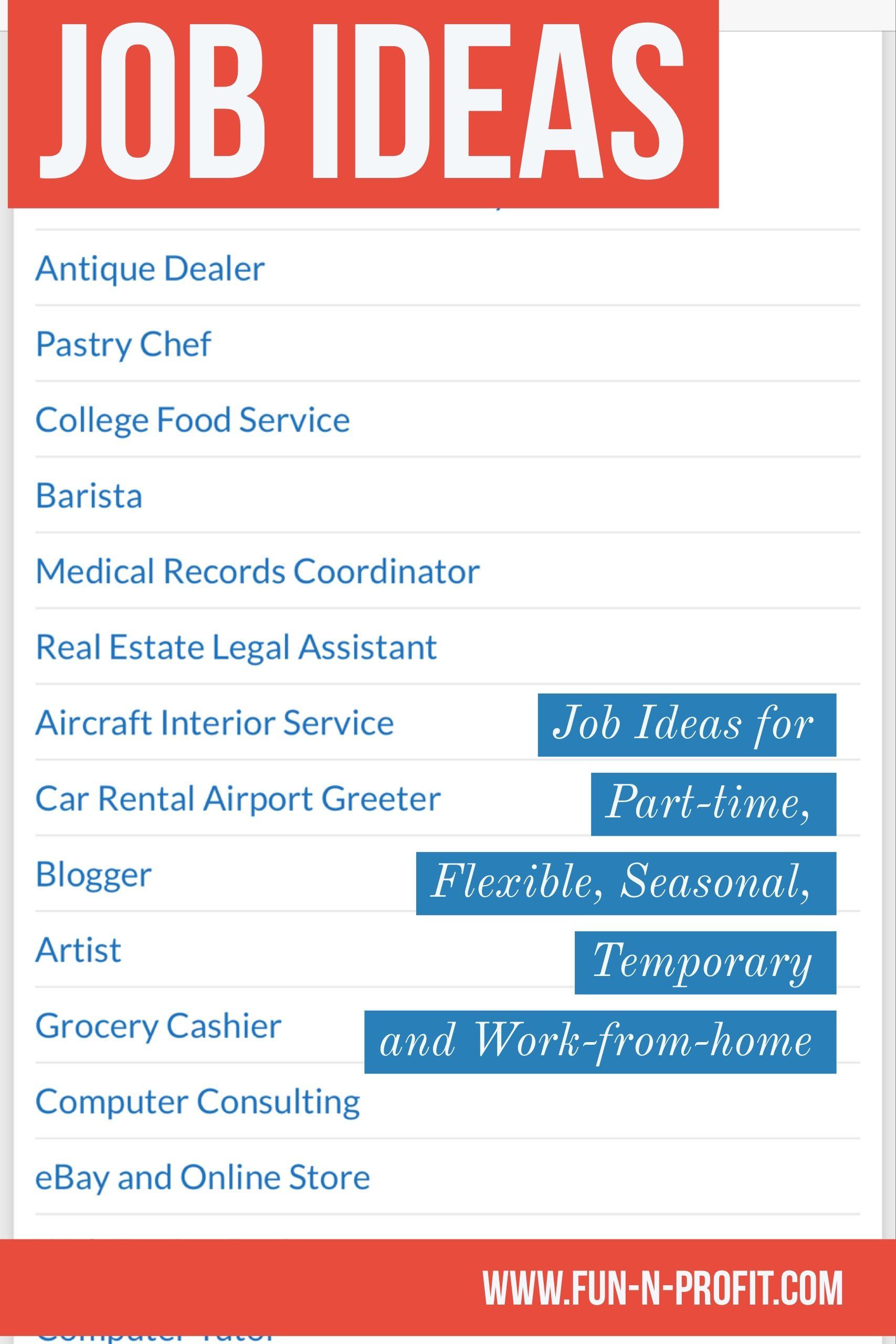part-time job ideas like barista, medical records coordinator, real