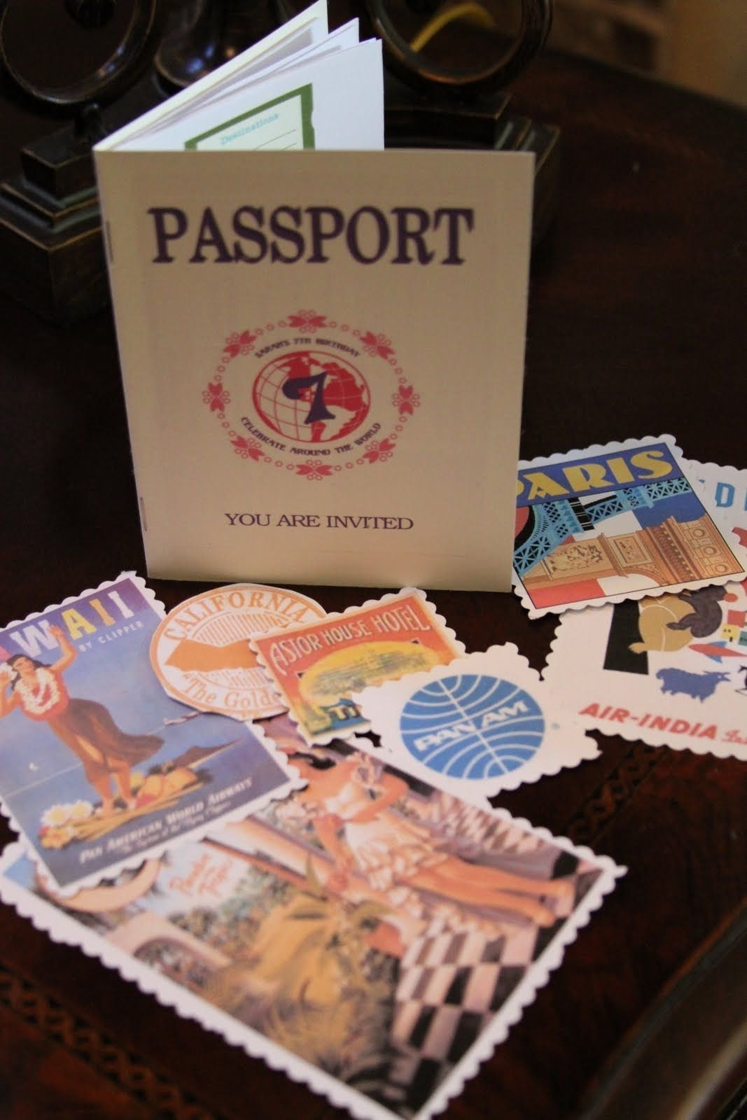 10 Great Around The World Party Ideas party invitation that looks like a passport especially love the