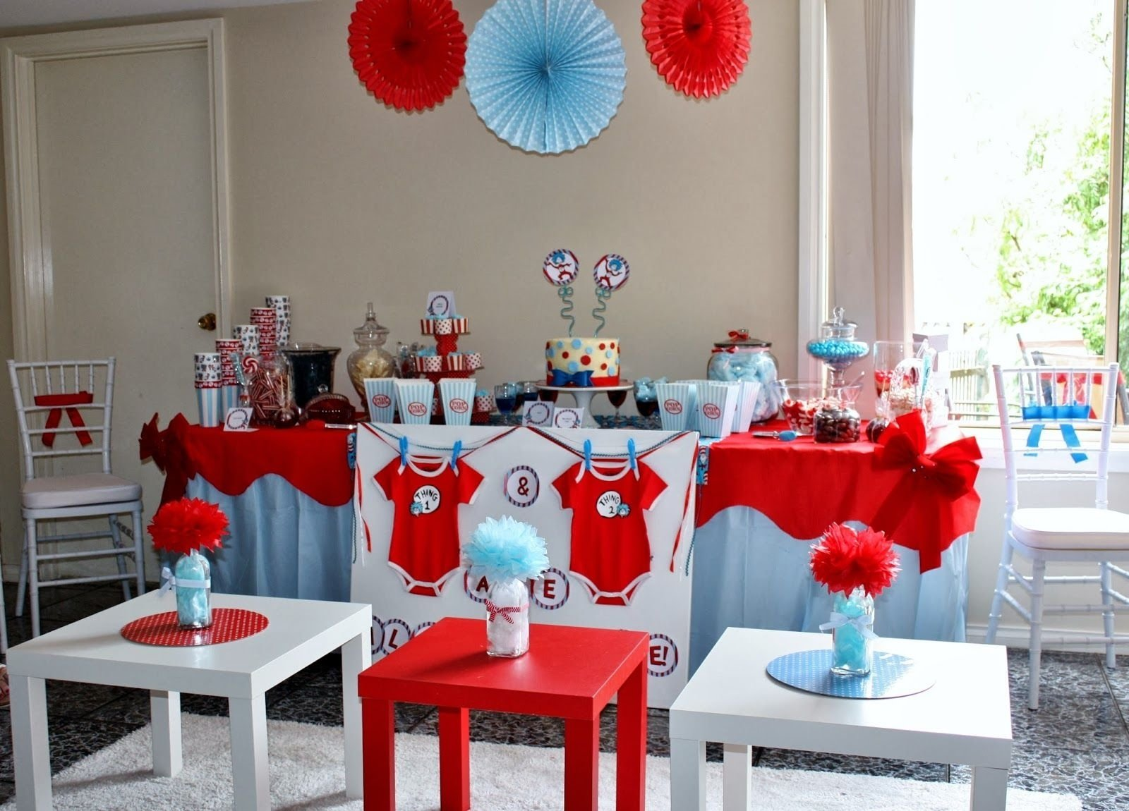 party of 11: tempting fate: a thing 1 and thing 2 baby shower | baby