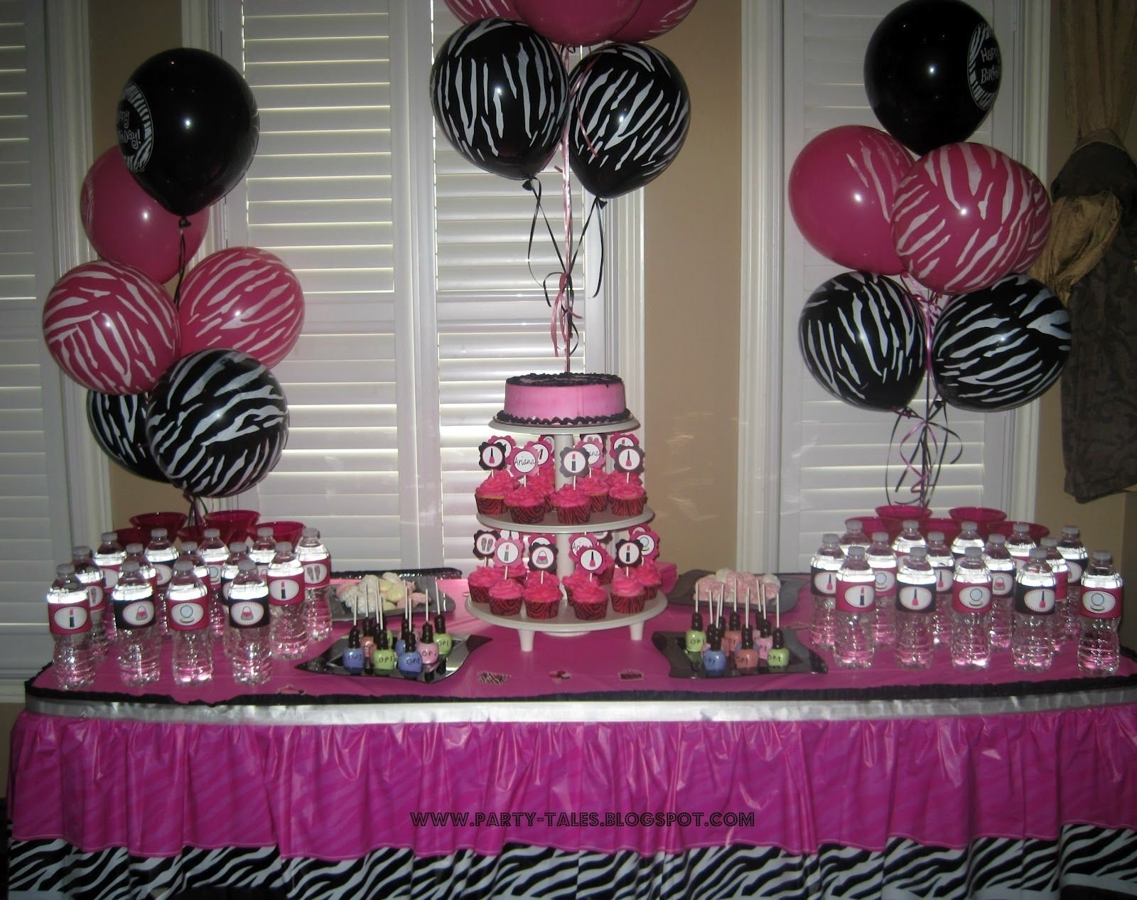 party-tales: ~ birthday party ~ zebra print and hot pink diva spa