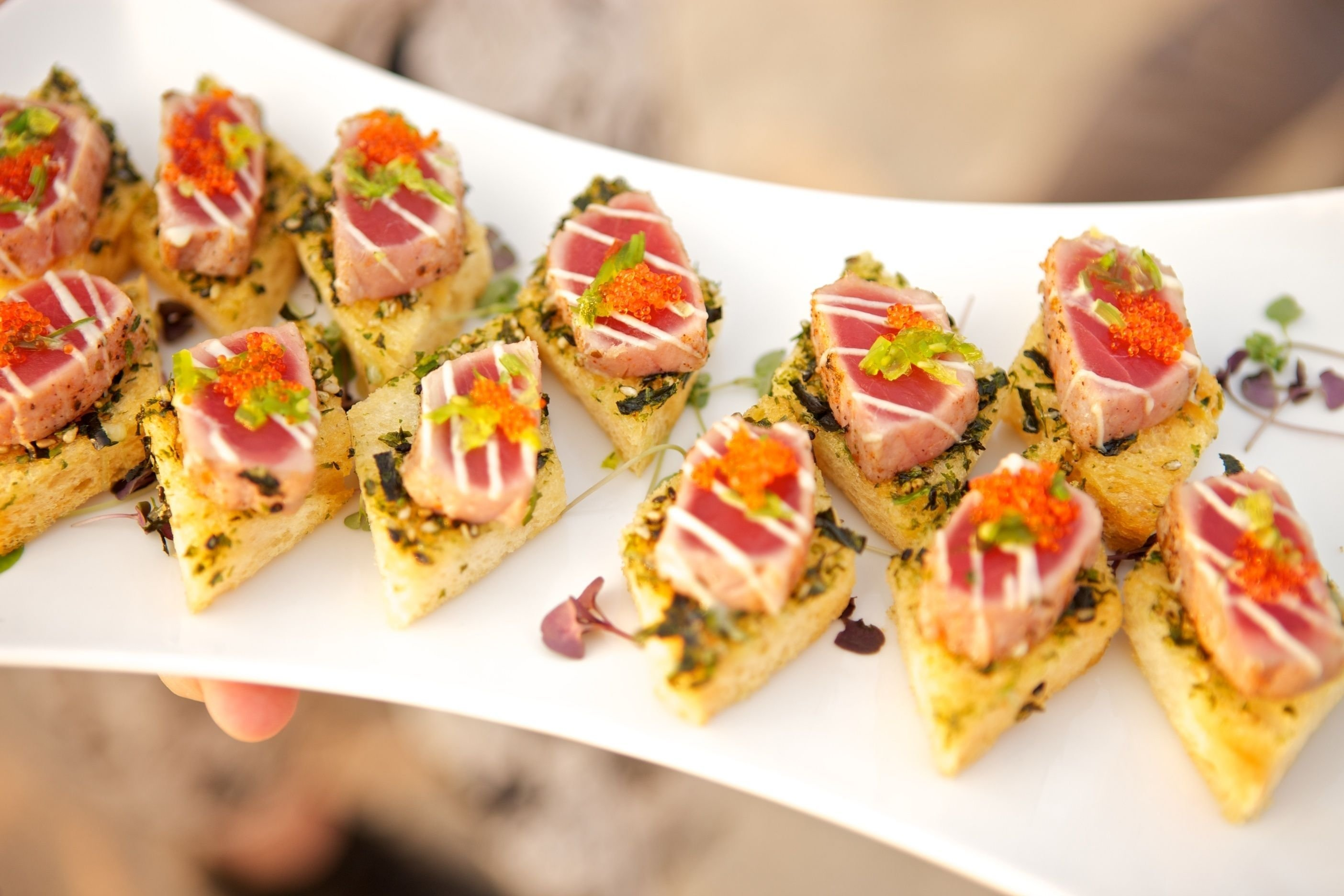 10 Nice Passed Hors D Oeuvres Ideas passed hors doeuvres seared ahi tuna on nori crostini with wasabi 2021