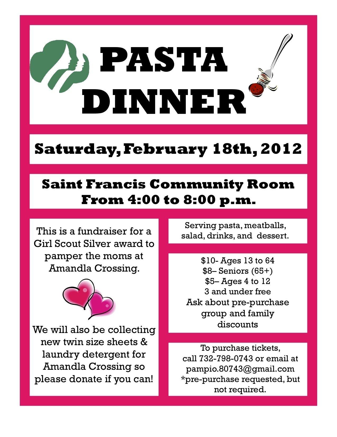 10 Fantastic Girl Scout Silver Award Ideas pasta dinner to support girl scout silver award february 18th 1 2020