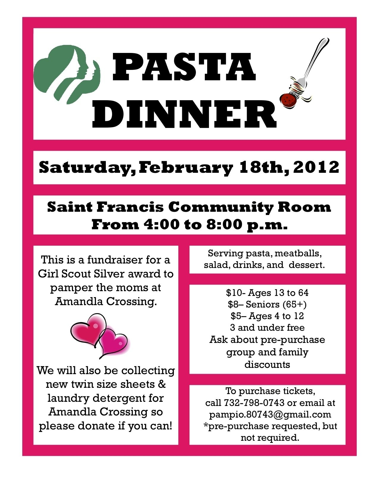 10 Awesome Girl Scouts Silver Award Ideas pasta dinner to support girl scout silver award february 18th 2021