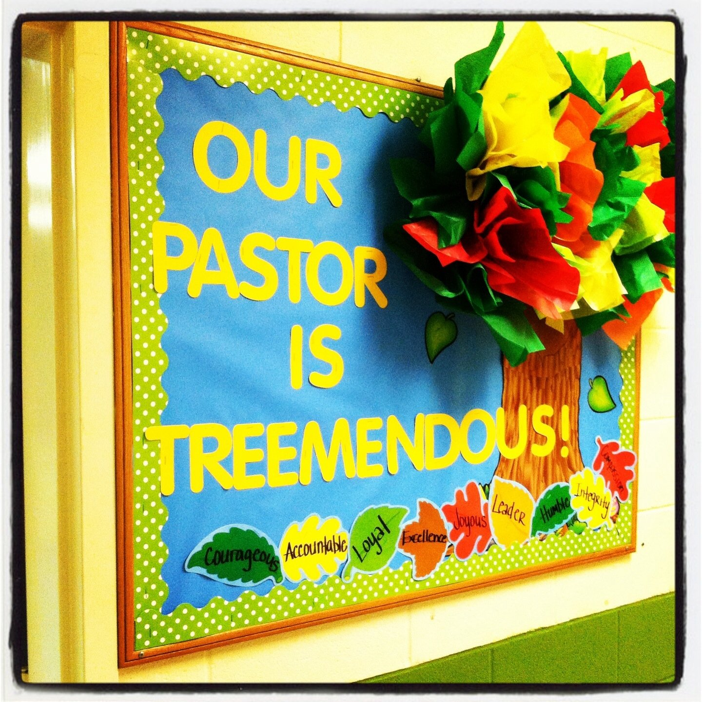 10 Stylish Ideas For Pastor Appreciation Month pastor appreciation bulletin board tissue paper tree been there 2020