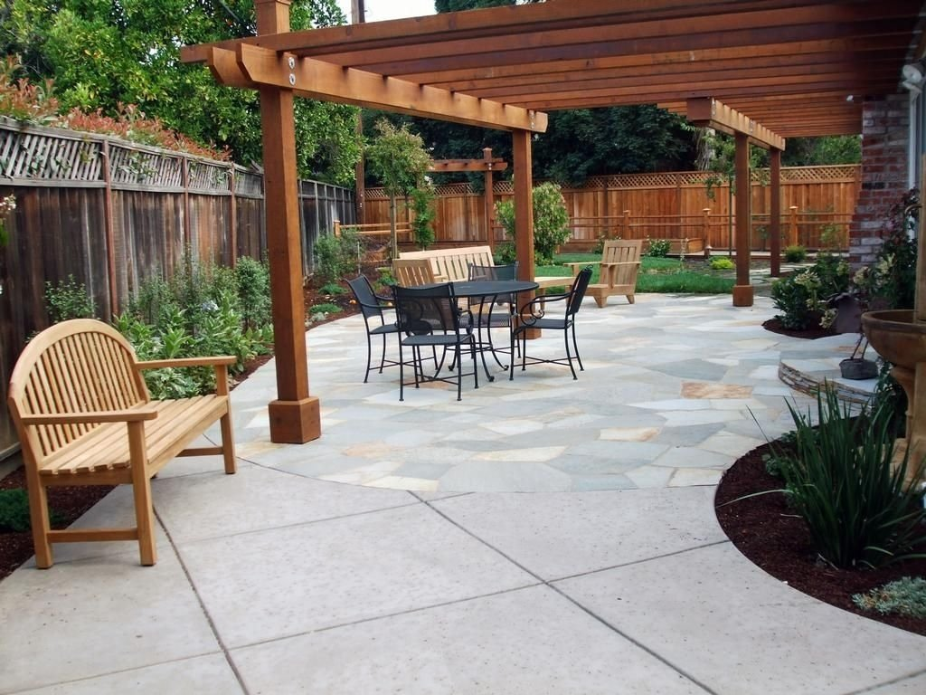 10 Best Concrete Patio Ideas For Small Backyards patio landscaping flagstone patio redwood arbor provided