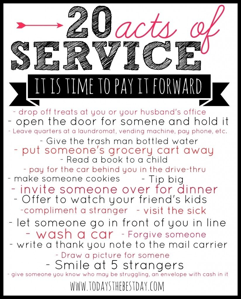 pay it forward - service challenge | service ideas, random and