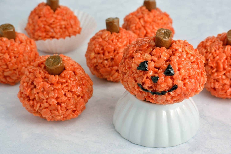 10 Great Halloween Rice Krispie Treat Ideas peanut butter rice krispie treat pumpkins savory experiments 2020