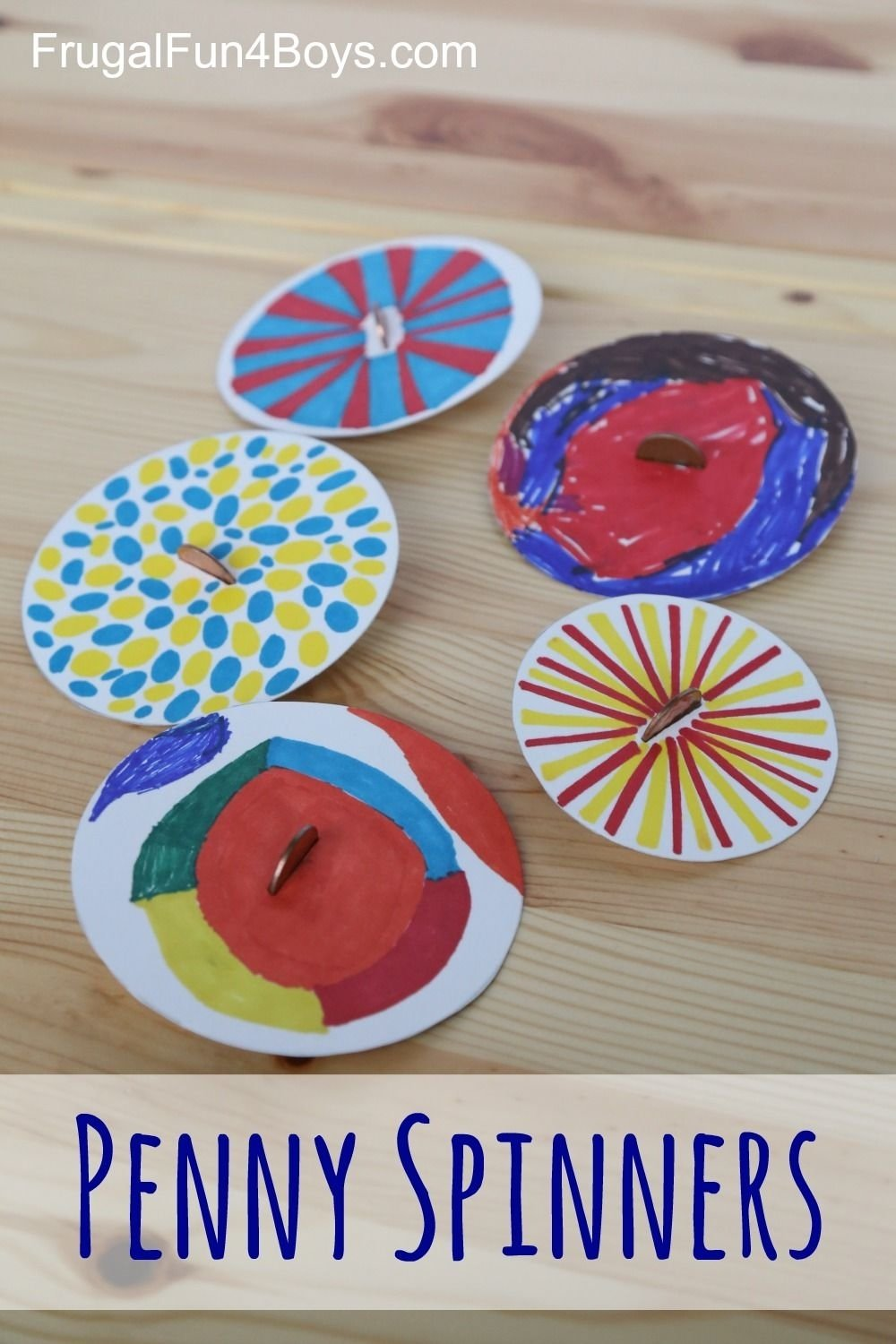 10 Lovable Arts And Crafts Ideas For Summer penny spinners toy tops that kids can make spinner toy craft