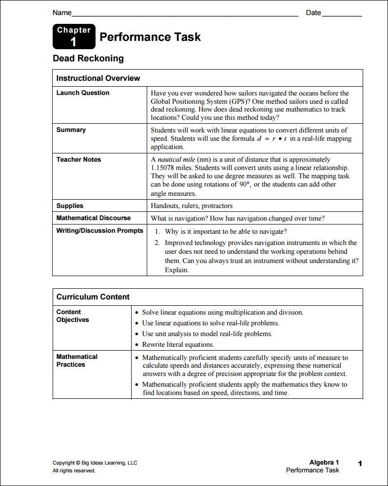 10 Awesome Big Ideas Math Green Resources By Chapter performance tasks big ideas math 2 2020