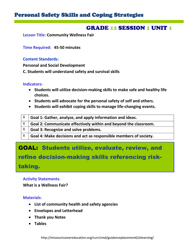 10 Cute Health And Safety Fair Ideas personal safety skills and coping strategies grade session unit 2021