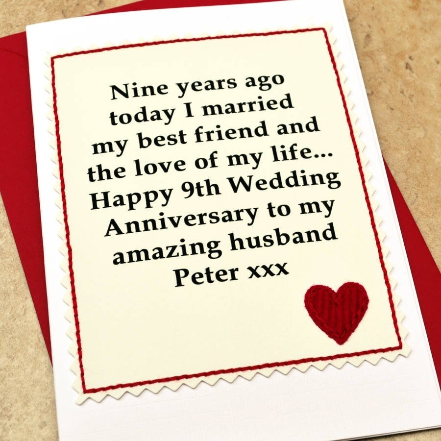 10 Lovable Anniversary Card Ideas For Him personalised 9th wedding anniversary cardjenny arnott cards 2020