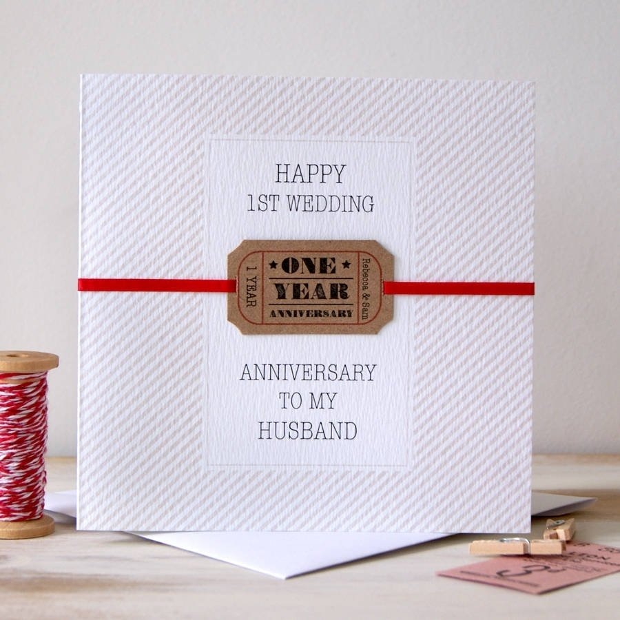 10 Trendy One Year Anniversary Ideas For Wife personalised first wedding anniversary cardbutton box cards 2021