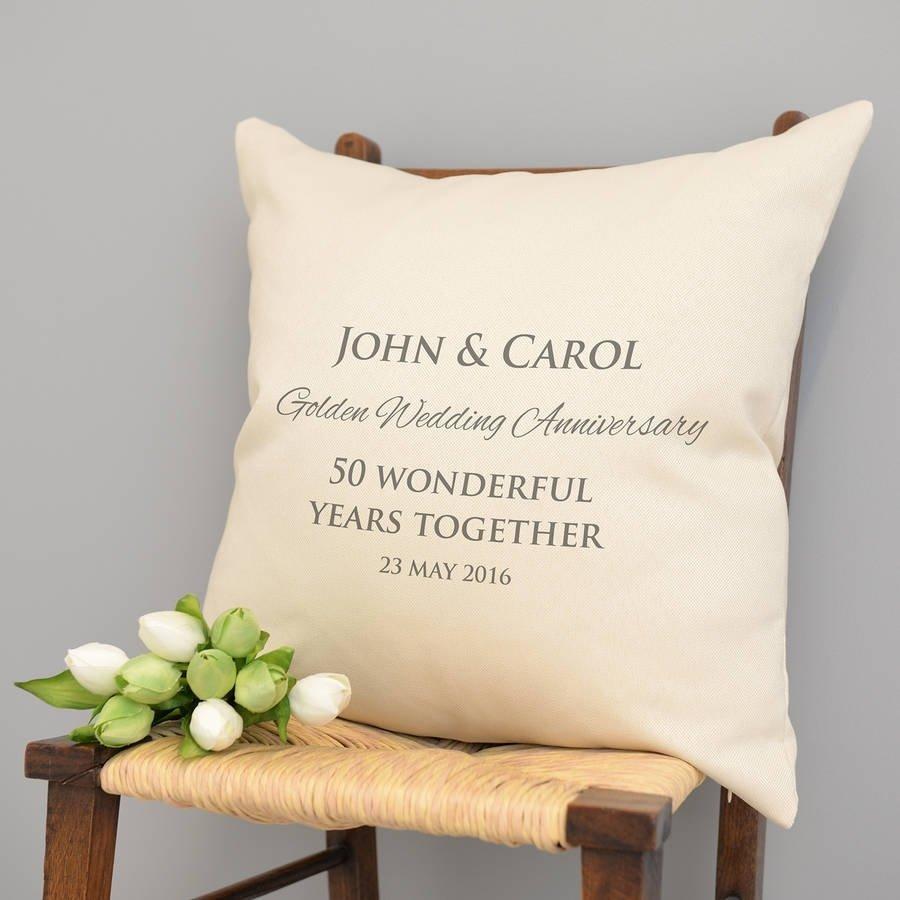 10 Cute 50Th Wedding Anniversary Gift Ideas Gold personalised golden wedding anniversary cushiona type of design 2021