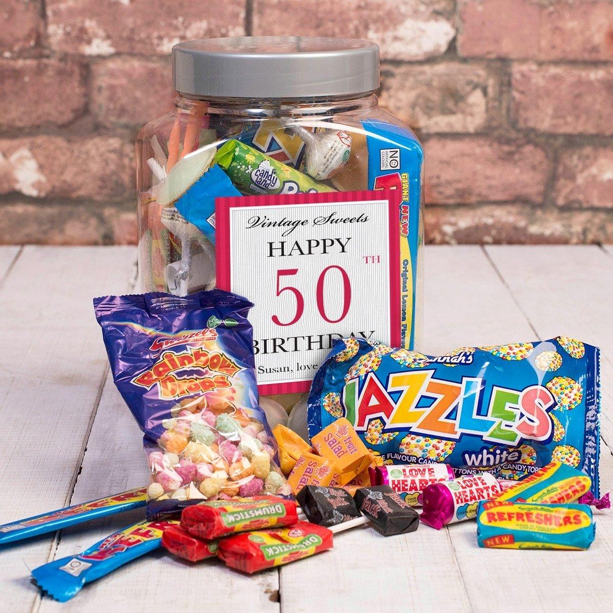 10 Fabulous 50Th Birthday Ideas For Wife personalised retro sweet jar happy 50th birthday gettingpersonal 1