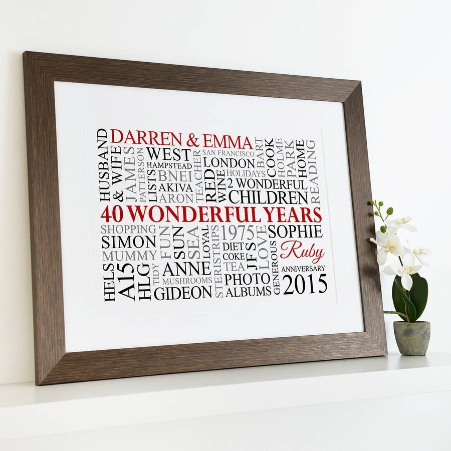 10 Fabulous 40 Year Anniversary Gift Ideas personalised ruby anniversary word artcherry pete 2020