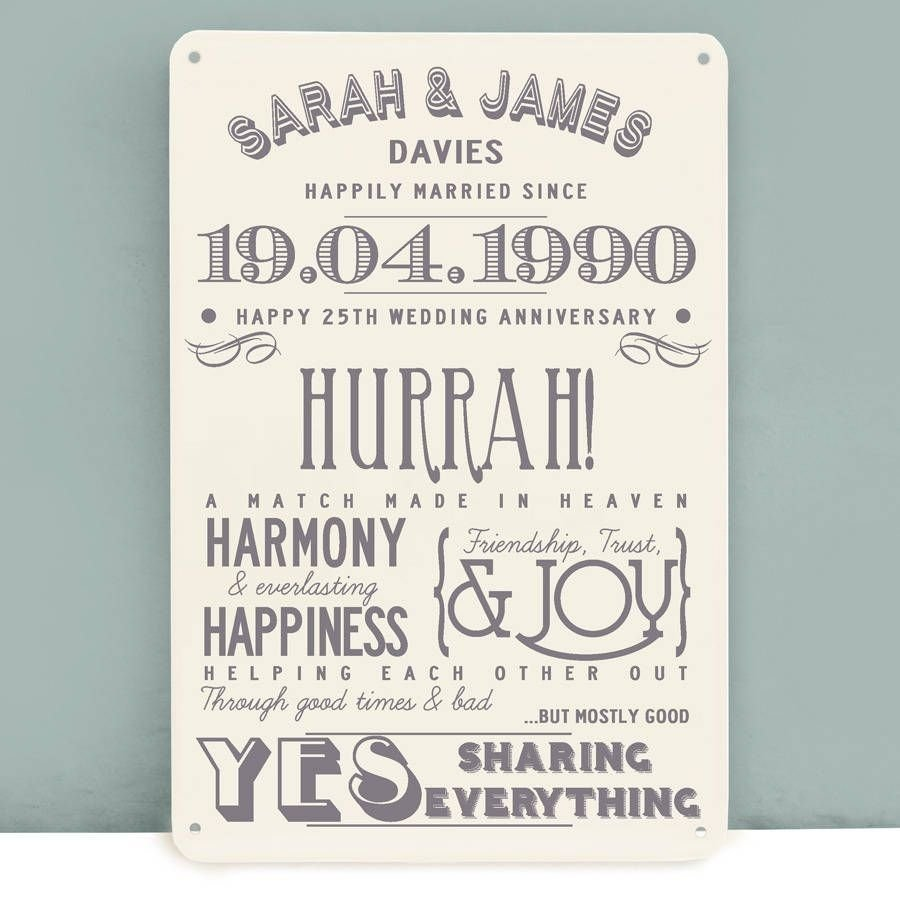 10 Trendy 25Th Wedding Anniversary Gift Ideas For Wife personalised silver wedding anniversary metal print wedding 2 2020