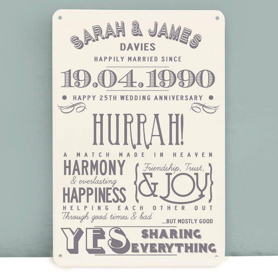 10 Gorgeous 25 Year Anniversary Gift Ideas personalised silver wedding anniversary metal print wedding 4 2020
