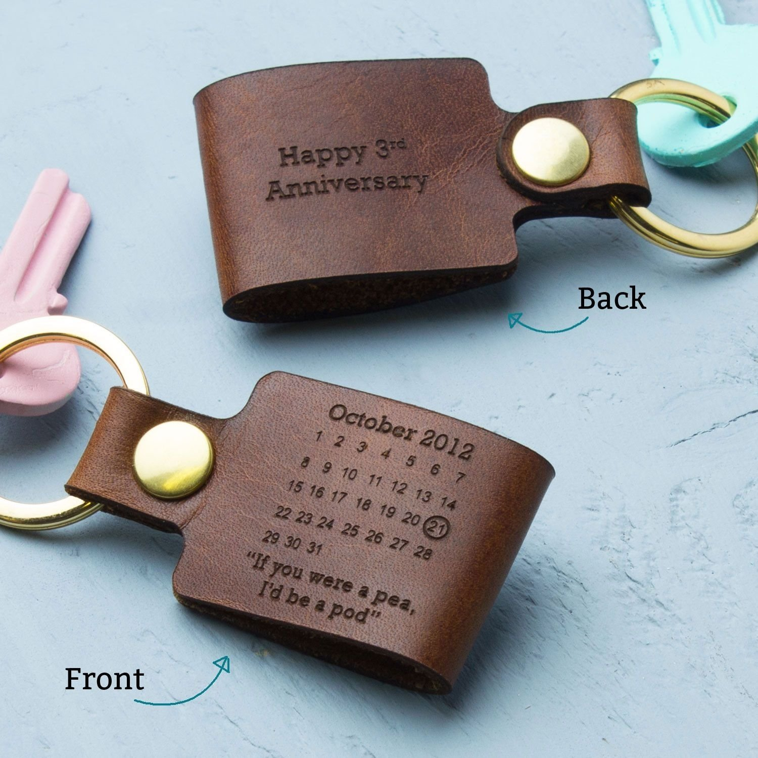 personalised third wedding anniversary leather keyring | wedding