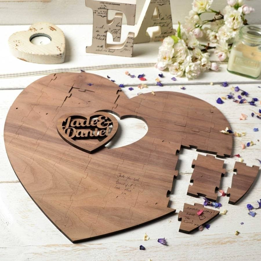 10 Stylish Creative Guest Book Ideas For Wedding personalised wedding guestbook puzzle two heartscreate gift love 2020