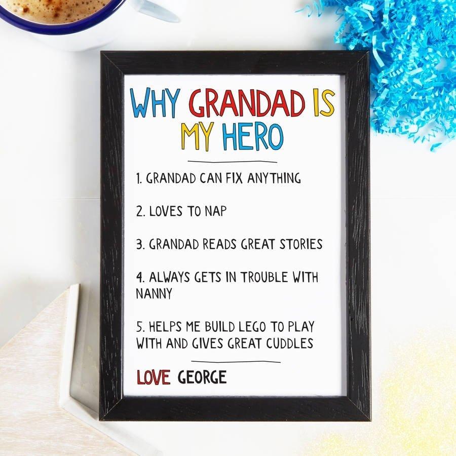 10 Fantastic Gift Ideas For New Grandparents personalised why grandad grandpa is my hero printcoconutgrass