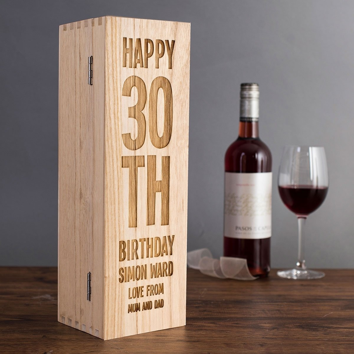 10 Awesome 30Th Birthday Gift Ideas For Men personalised wooden wine box 30th birthday getting personal