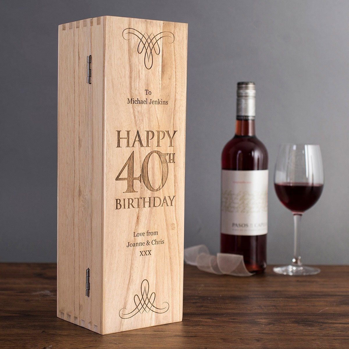 10 Fashionable 40Th Birthday Gift Ideas For Men personalised wooden wine box 40th birthday getting personal 2021