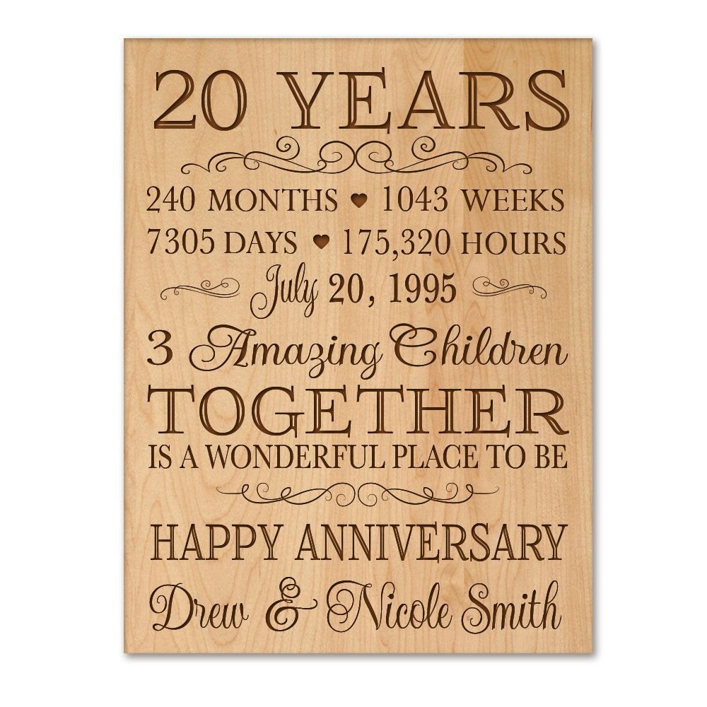 personalized 20th anniversary gift for him,20 year wedding