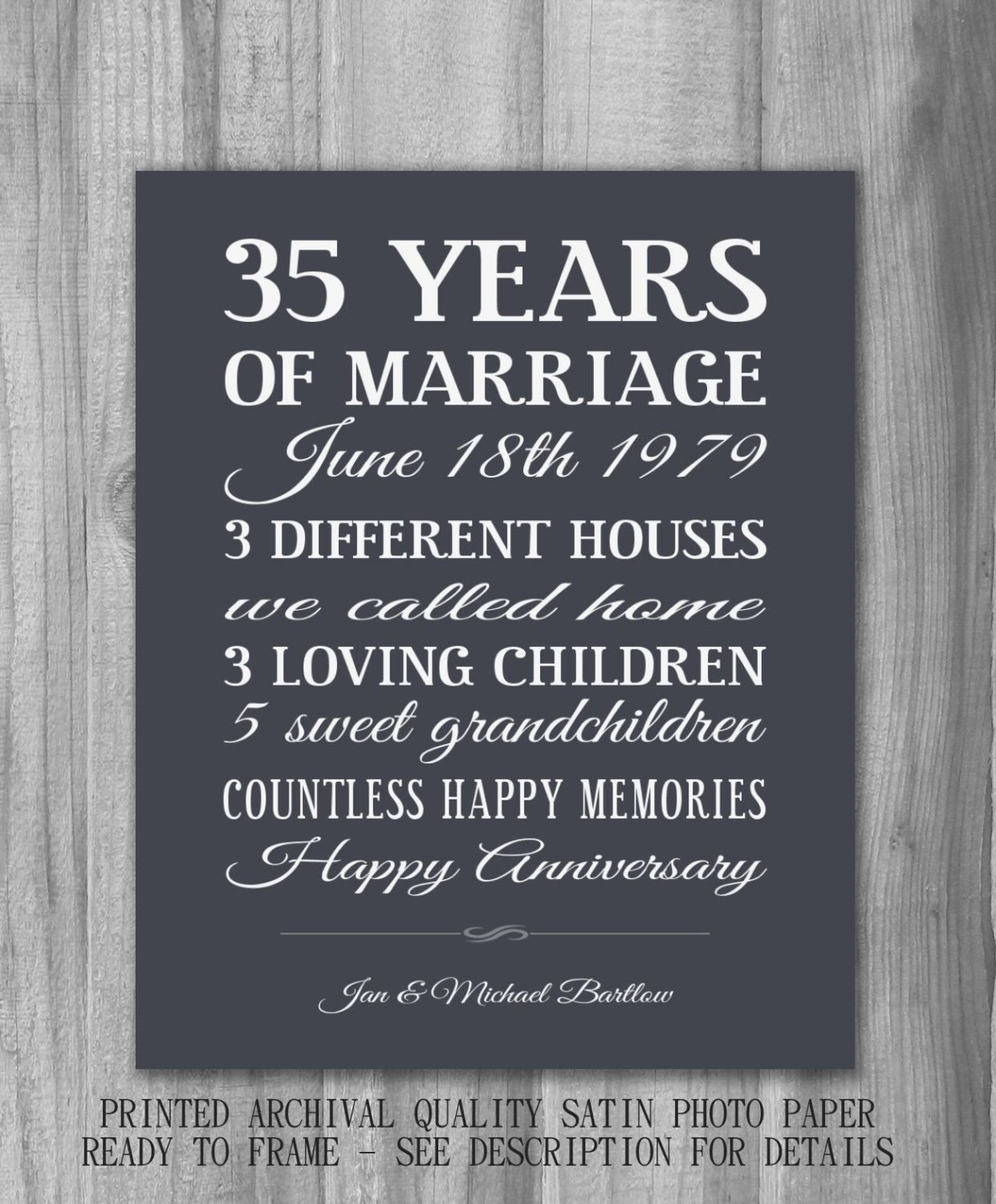 10 Pretty 35Th Wedding Anniversary Gift Ideas personalized anniversary gift important dates unique custom marriage 1 2020