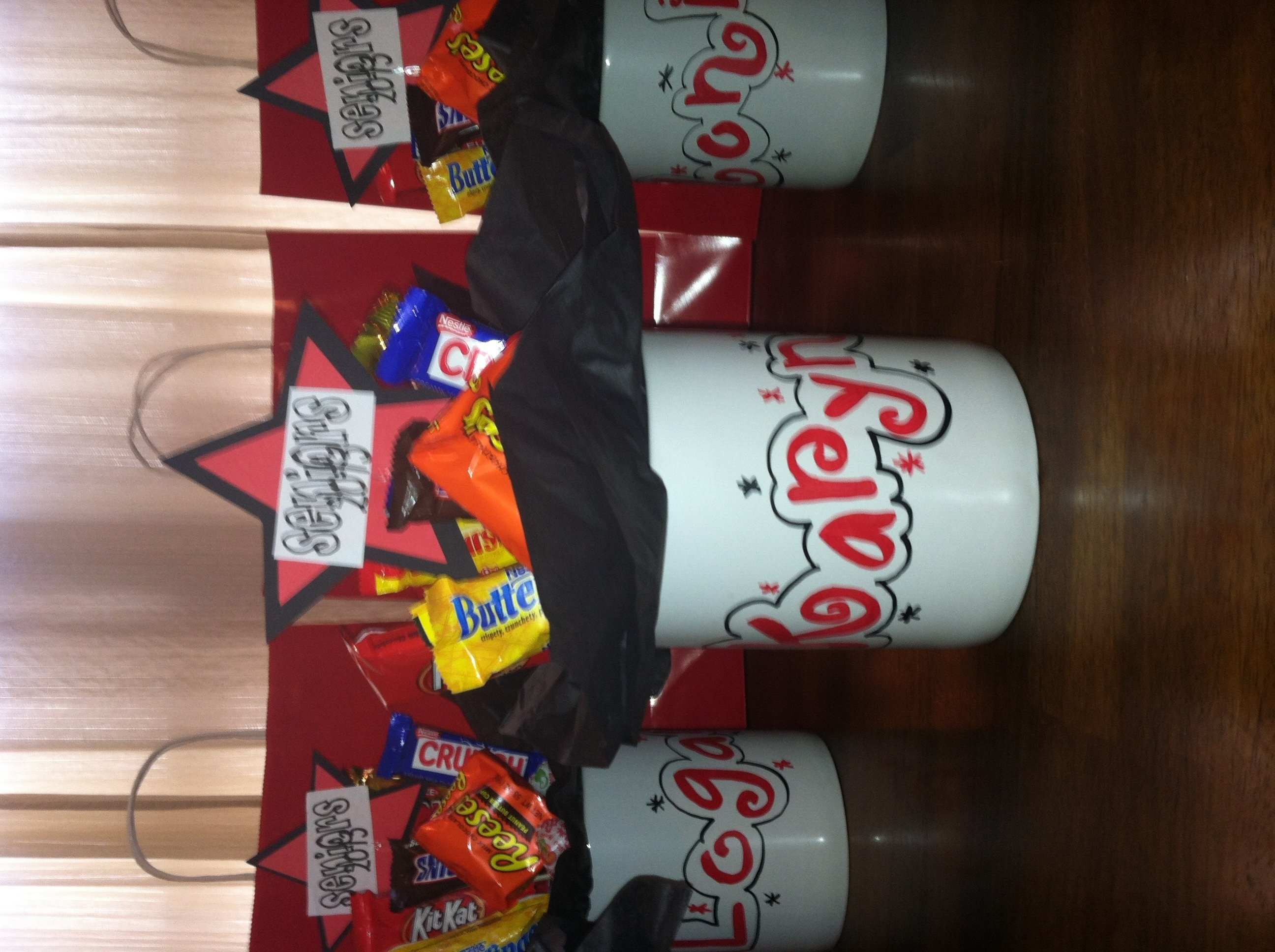 personalized candy bouquet mugs for high school senior gift idea
