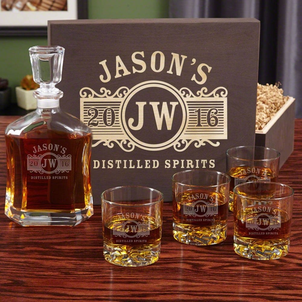 10 Nice Mens 50Th Birthday Gift Ideas personalized decanter set with wood gift box 2021