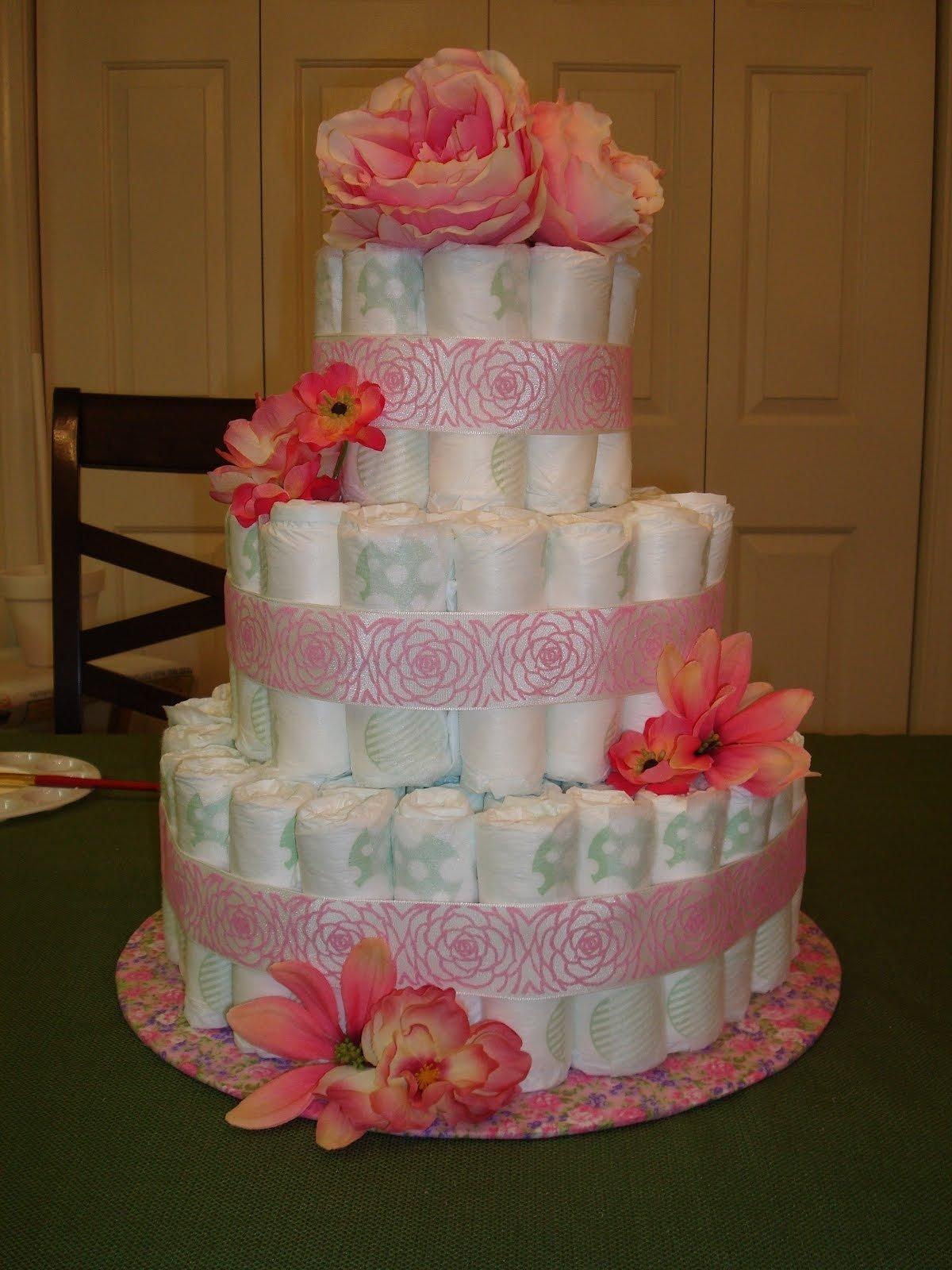 10 Fantastic Diaper Cake Ideas For Girls photo baby shower diaper cake image 2020