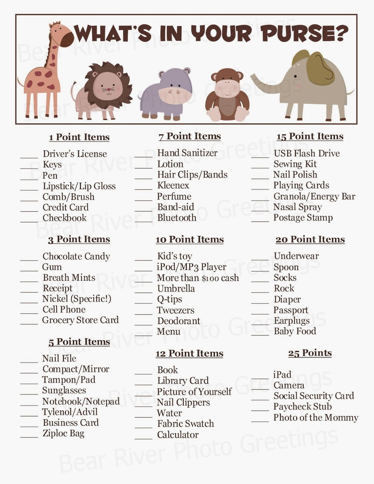 10 Nice Free Baby Shower Game Ideas photo jungle animals what s image 1