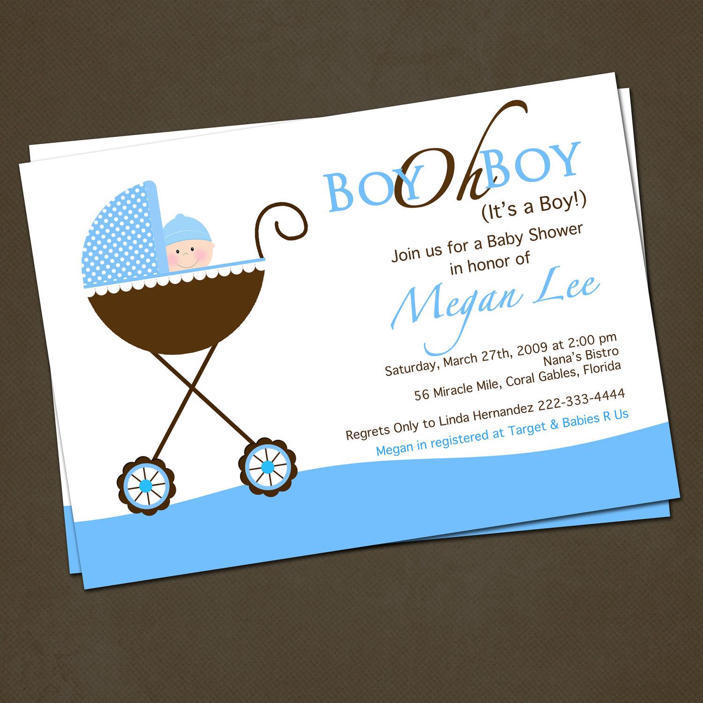 10 Trendy Baby Boy Shower Invitation Ideas photo stroller baby shower invitations image 1