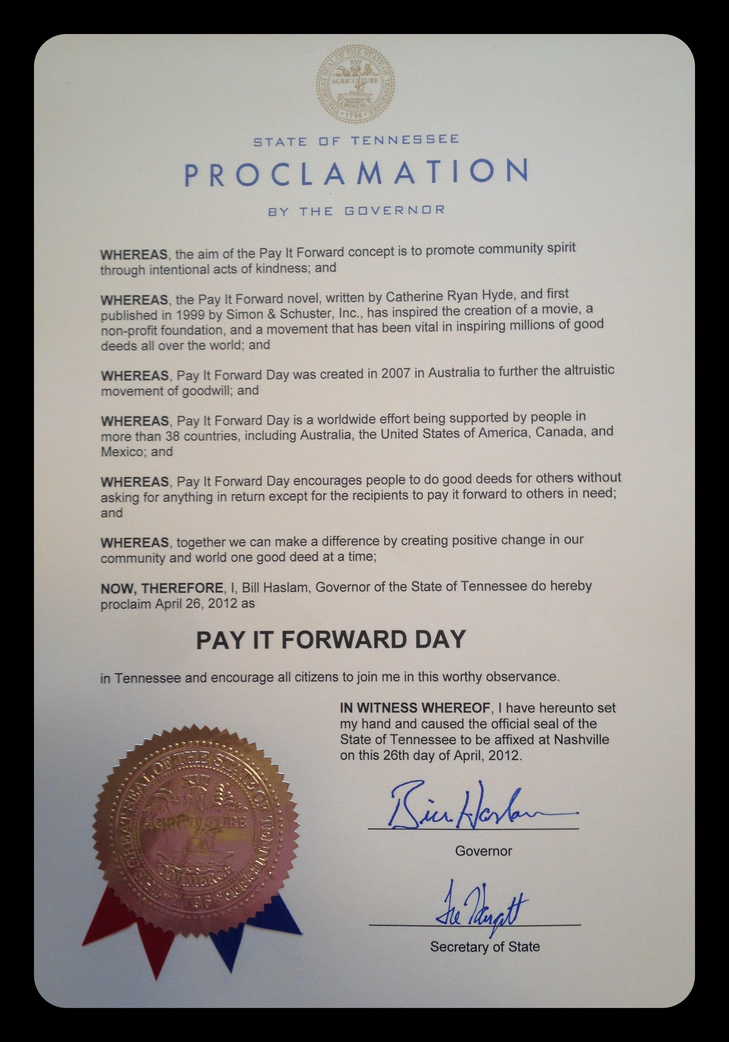 10 Nice Pay It Forward Project Ideas pifd2012 proclamation usa tn 2020