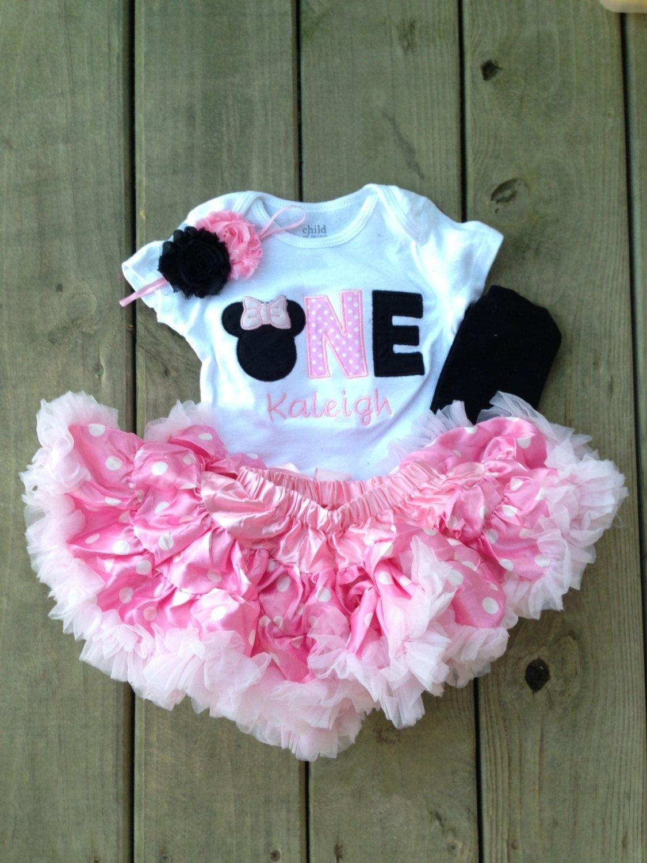 10 Wonderful Minnie Mouse 1St Birthday Ideas pink and black minnie mouse birthday outfit 1st birthday shirt 2020