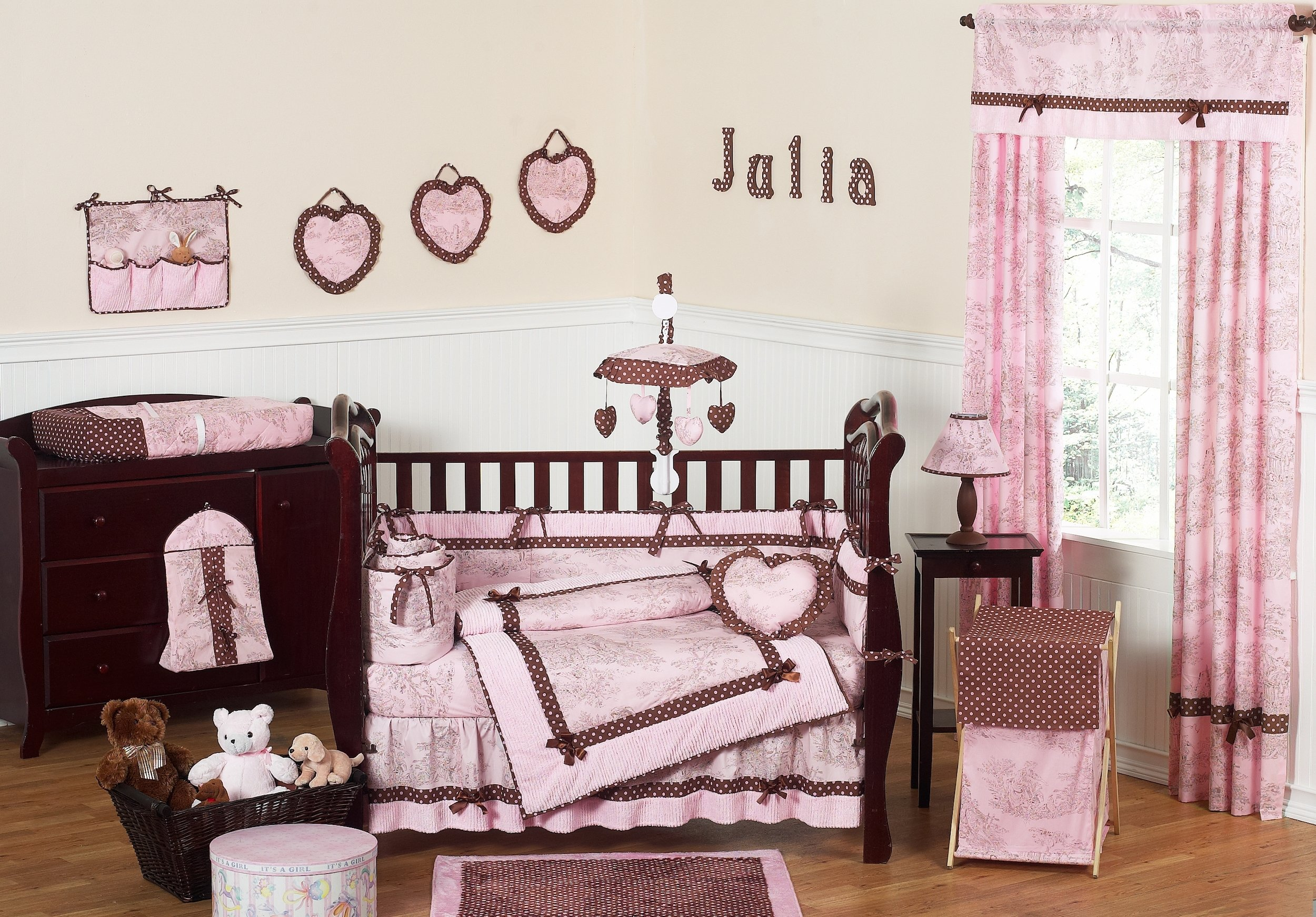 10 Lovely Pink And Brown Nursery Ideas pink and brown toile baby crib bedding 9pc girl nursery set loversiq 2020
