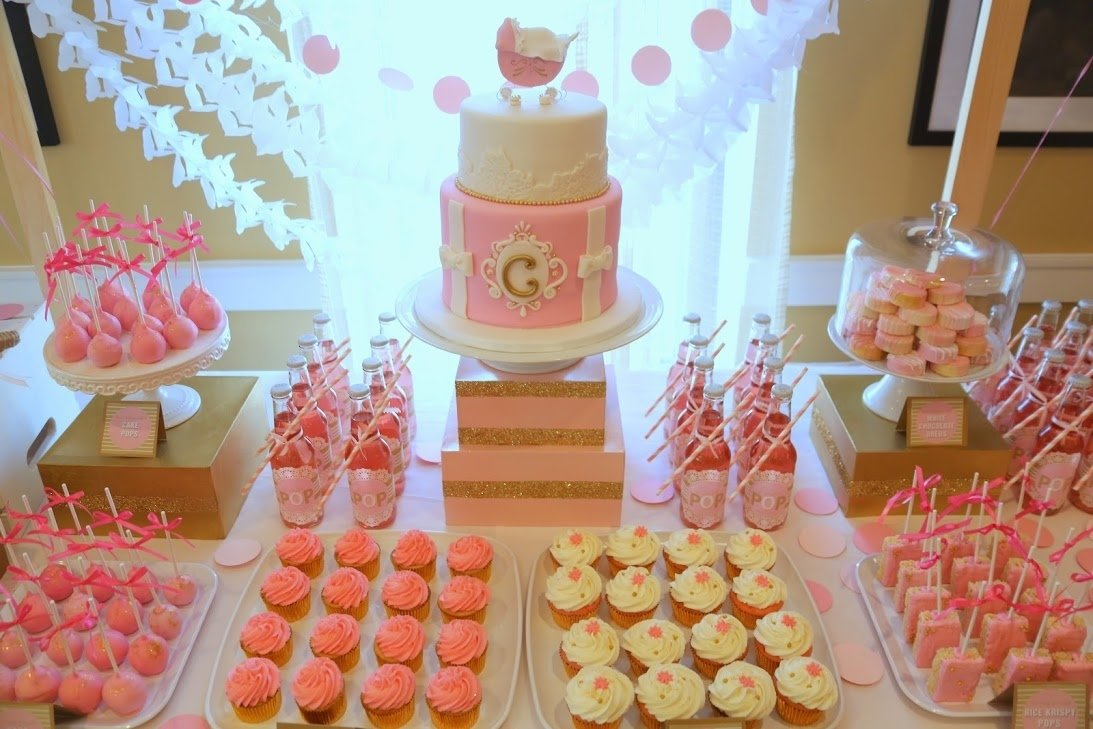 10 Unique Baby Shower Dessert Table Ideas pink and gold about to pop dessert table dessert table ideas baby 2020