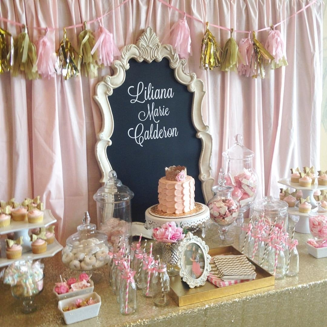 10 Unique Candy Buffet Ideas For Baby Shower pink and gold baby shower dessert table candy buffet pink and gold 2020