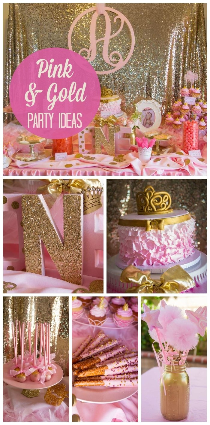 10 Fabulous Golden Birthday Ideas For Adults pink and gold birthday aubreys pink and gold 1st birthday 1 2020